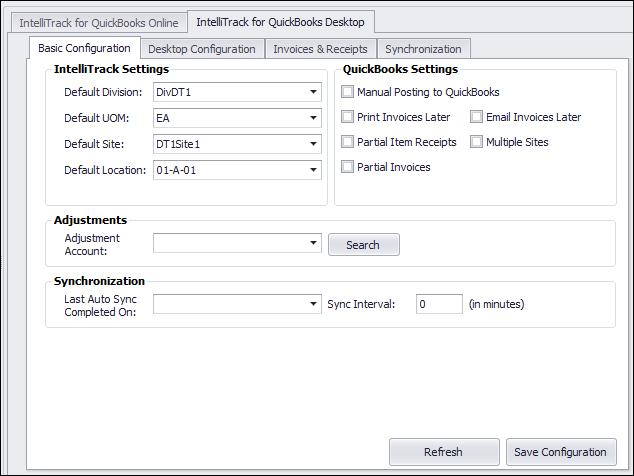 QuickBooks Desktop Configuration Options